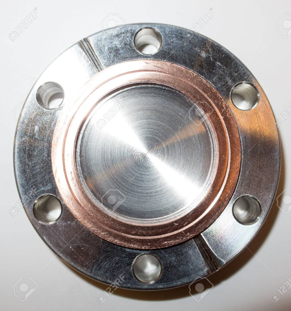 Ultra high vacuum flange with used copper seal typically used