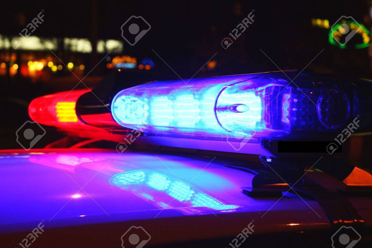 Exceptional Police Lights By Night Stock Photo   24666753 Pictures