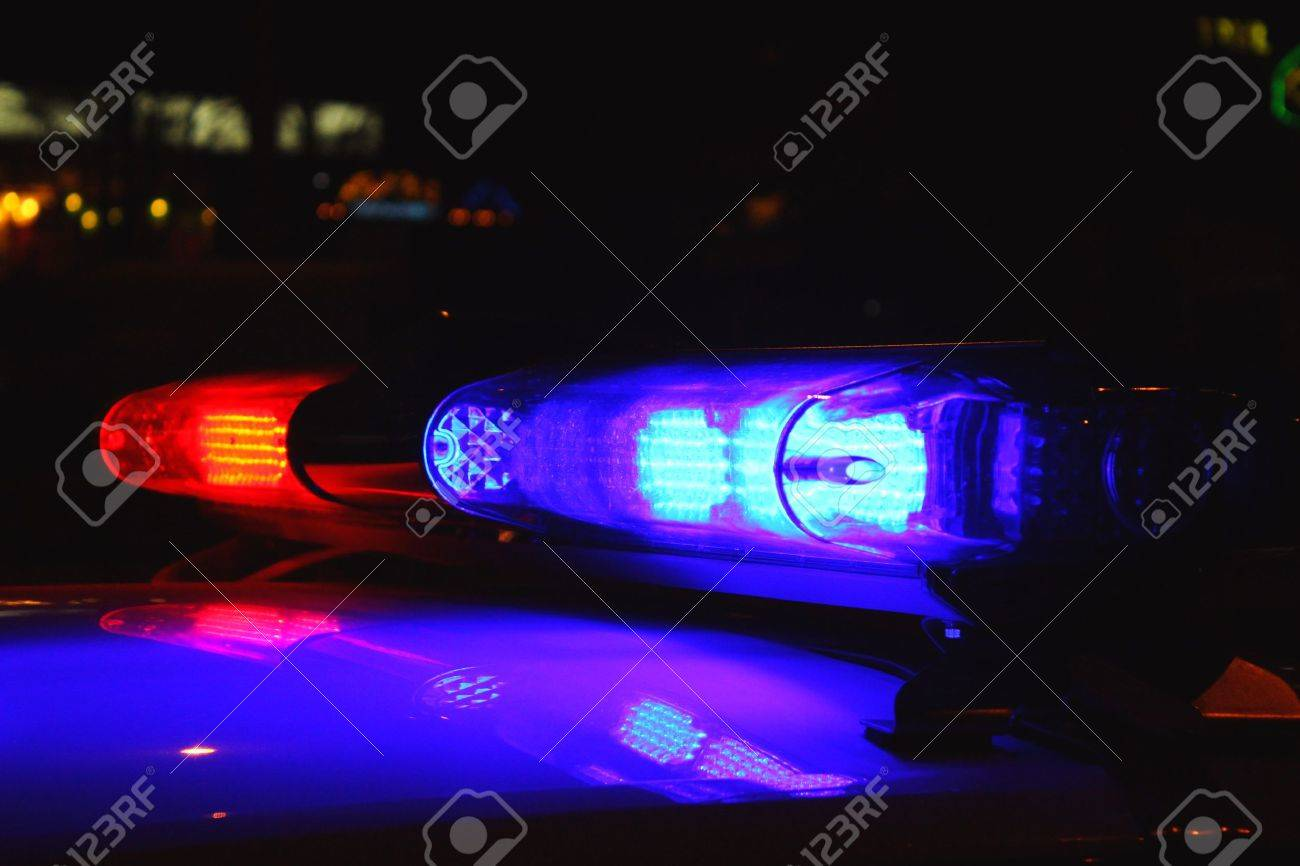 Good Police Lights By Night Stock Photo   26296184 Home Design Ideas