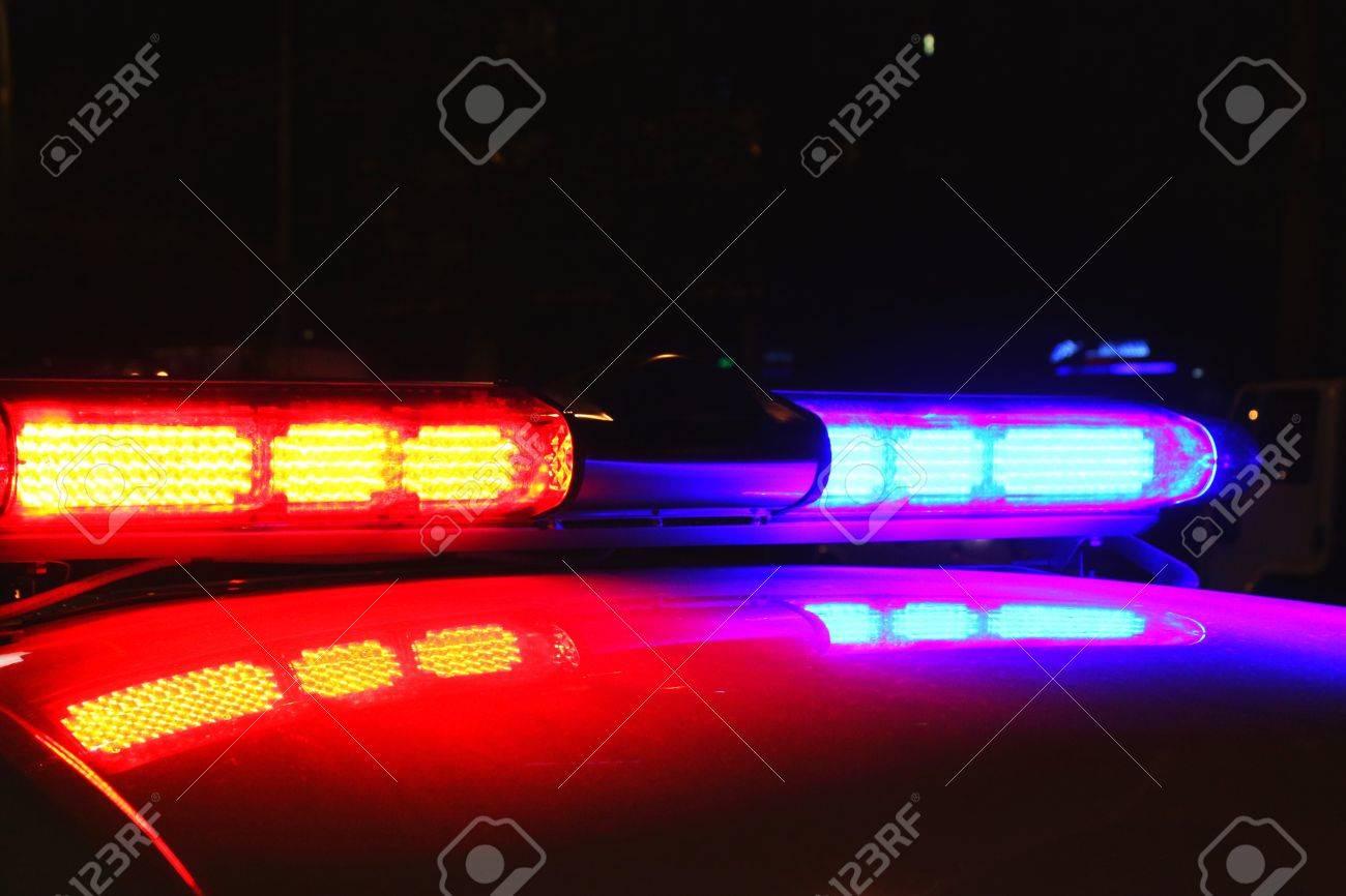 Marvelous Police Lights By Night Stock Photo   26296189 Nice Ideas