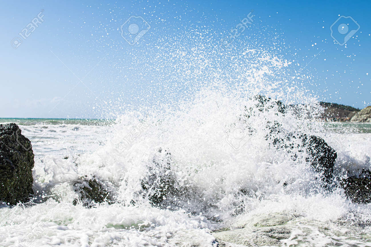 Coast of Sicily Italy with large rocks and big waves - 159158477