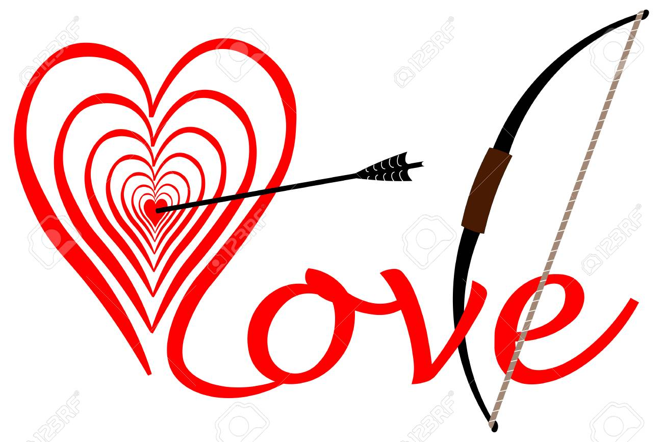Strike In Love In The Middle Of The Heart Bow With Arrow Stock