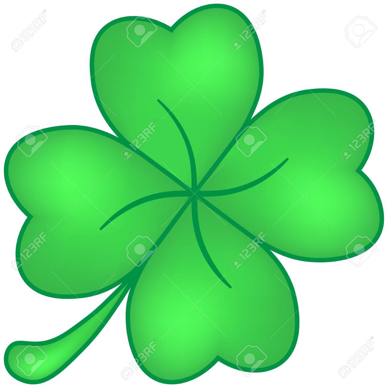 Vierblättriges Kleeblatt Grün Isoliert Auf Weißem Hintergrund