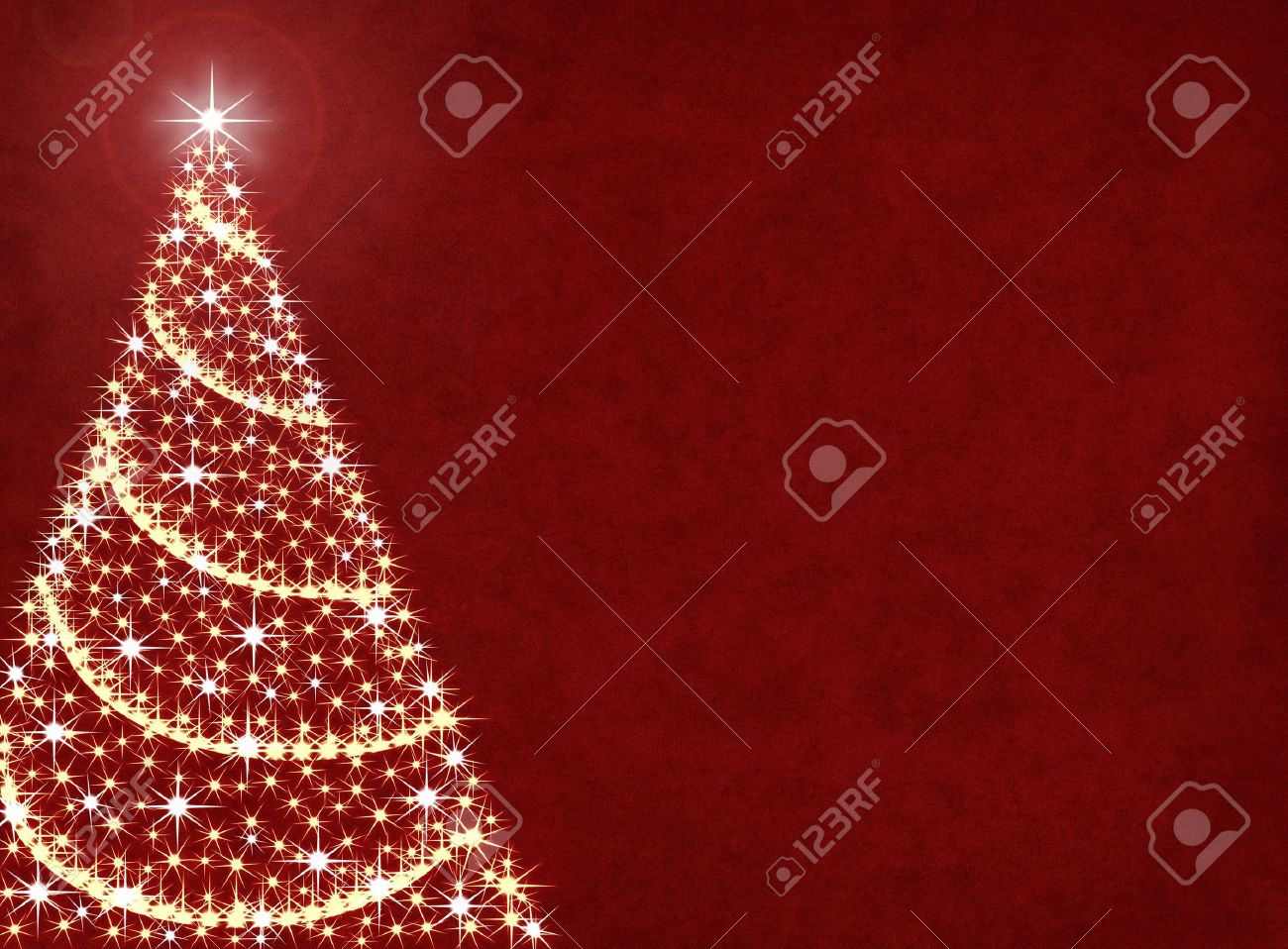 A Christmas Tree Illustration On A Textured Red Background. Stock ...