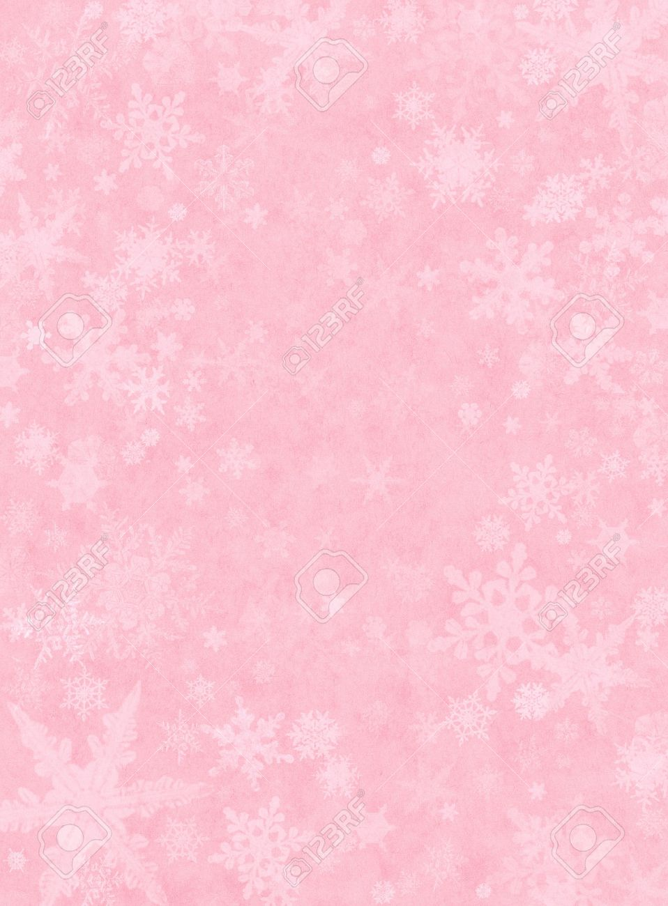 snowflakes on a light pink paper background stock photo picture