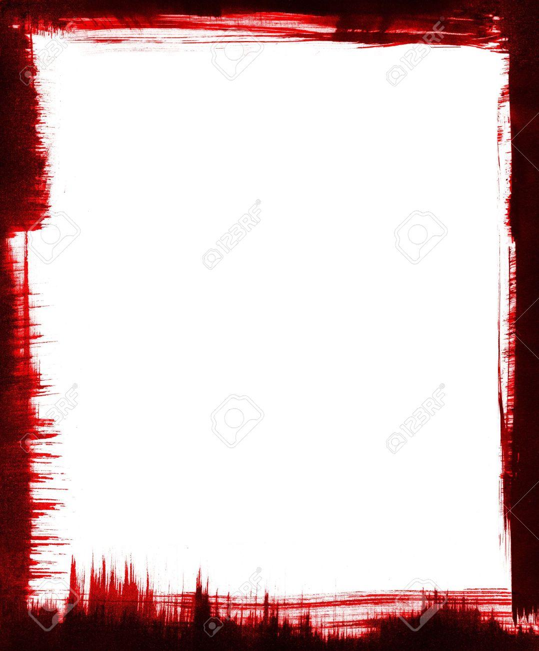 Rote Und Schwarze Pinselstriche Bilden Einen Rahmen Um Grafik Einen ...