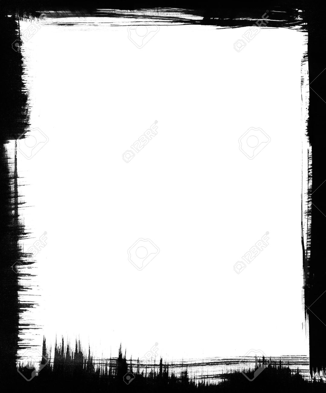 Black Brushstrokes Form A Graphic Frame Around A White Background ...