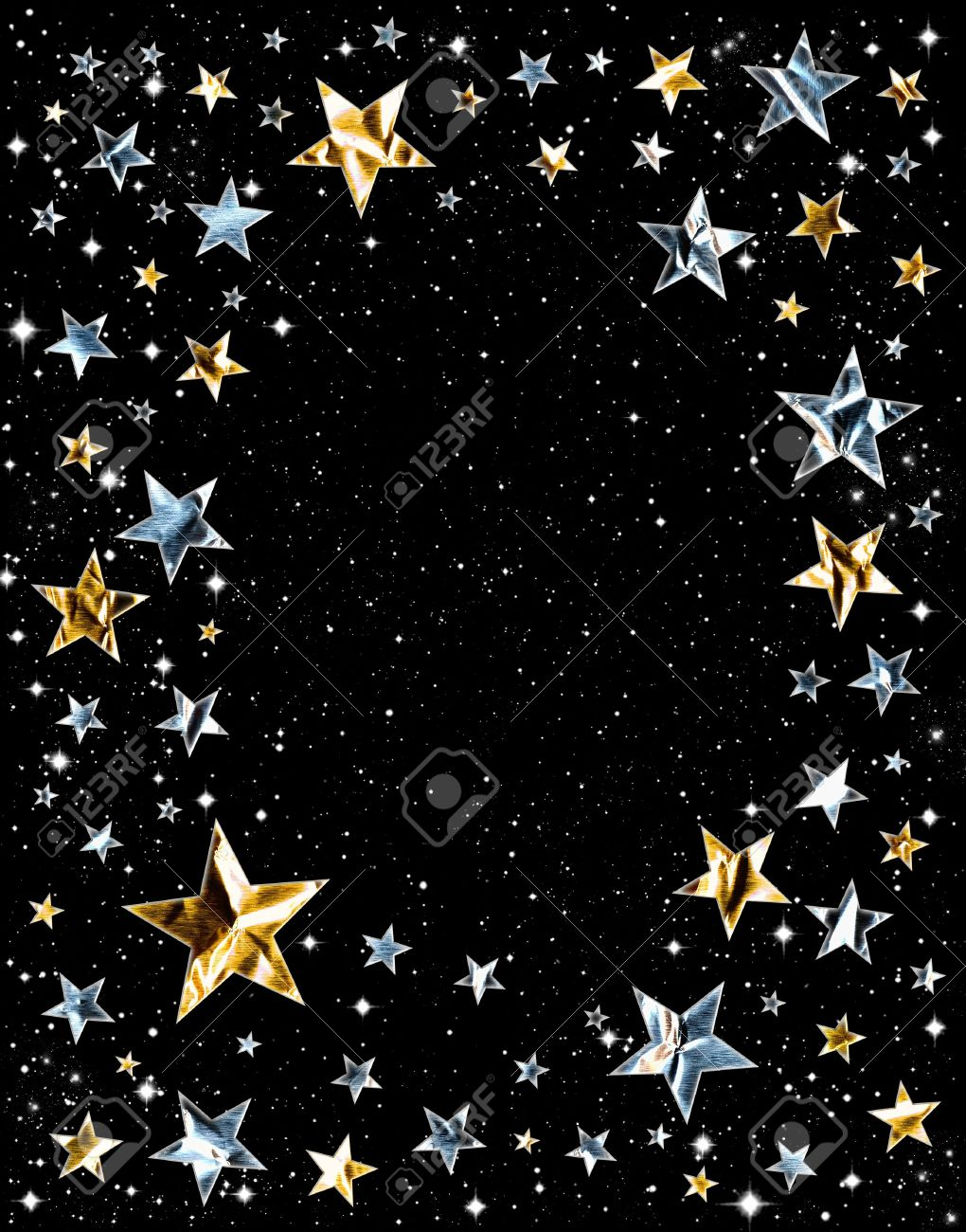 Silver and gold stars on a black space background Stock Photo - 10358700