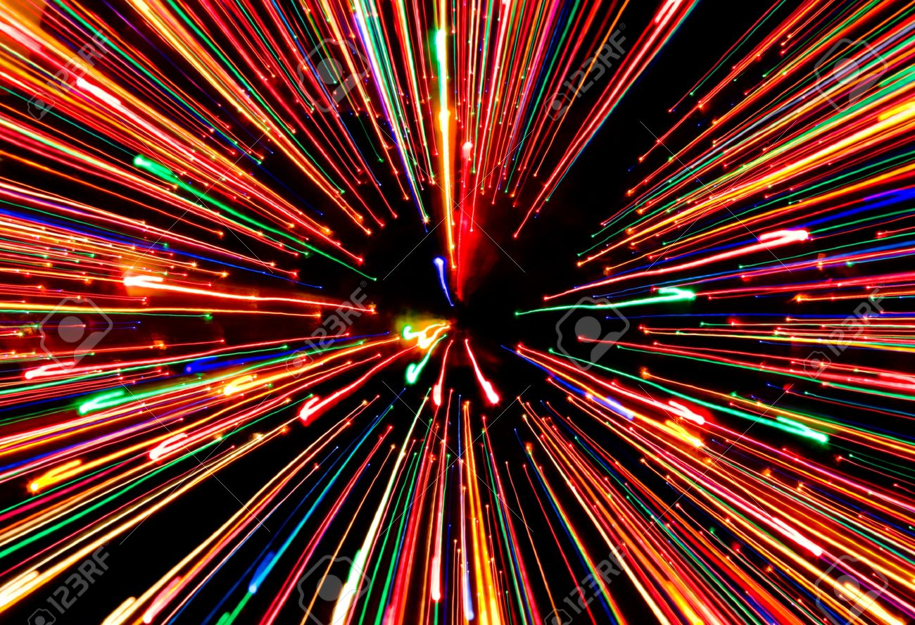 A Zooming And Streaking Christmas Light Effect. Stock Photo ...