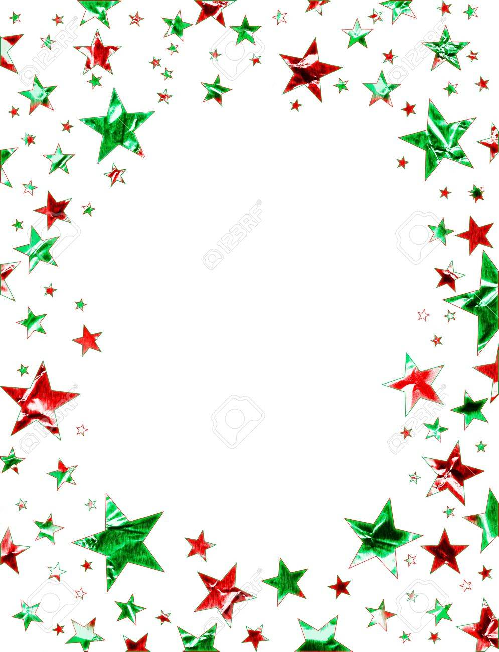 A star field of green and red stars on a white background Stock Photo - 10405479