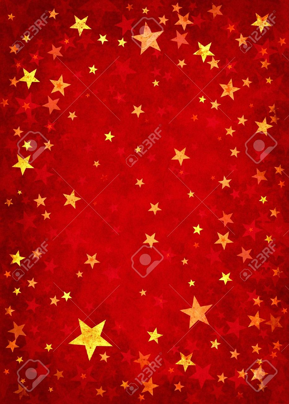 Star shapes on a textured red paper background. Stock Photo - 10405487