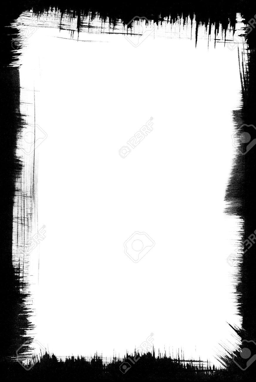 Pinselstriche Bilden Eine Grafik, Schwarze Rahmen Um Einen Weißen ...