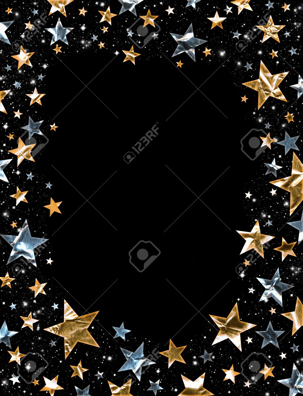 Gold and silver stars on a black background Stock Photo - 10422598