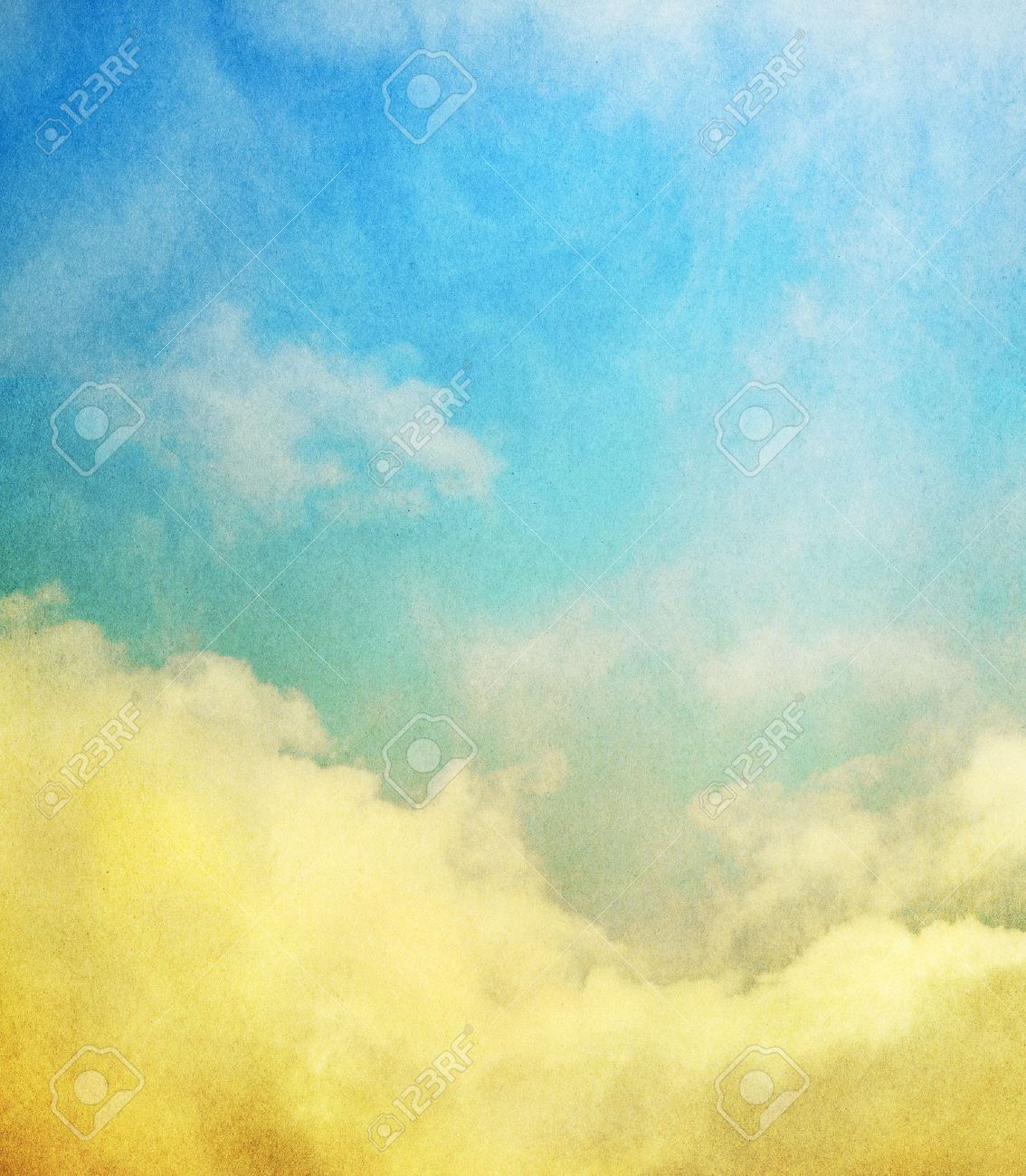 Fog, mist, and clouds with a yellow to blue gradient   Image has a textured paper overlay and grain pattern visible at 100 Stock Photo - 17251798
