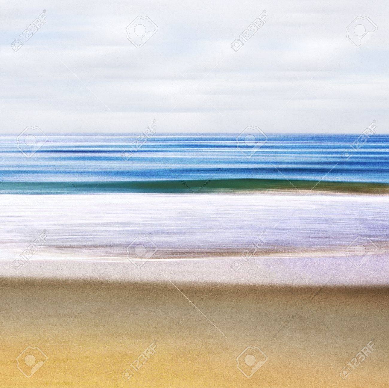An abstract ocean seascape with blurred motion   Image displays a paper texture and pleasing grain pattern when viewed at 100 Stock Photo - 18834428