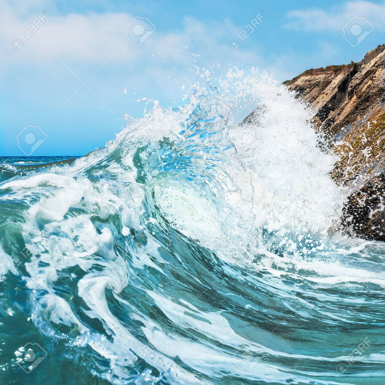A wave crashing on the rocky shore at Gaviota State Beach in Central California - 30657255