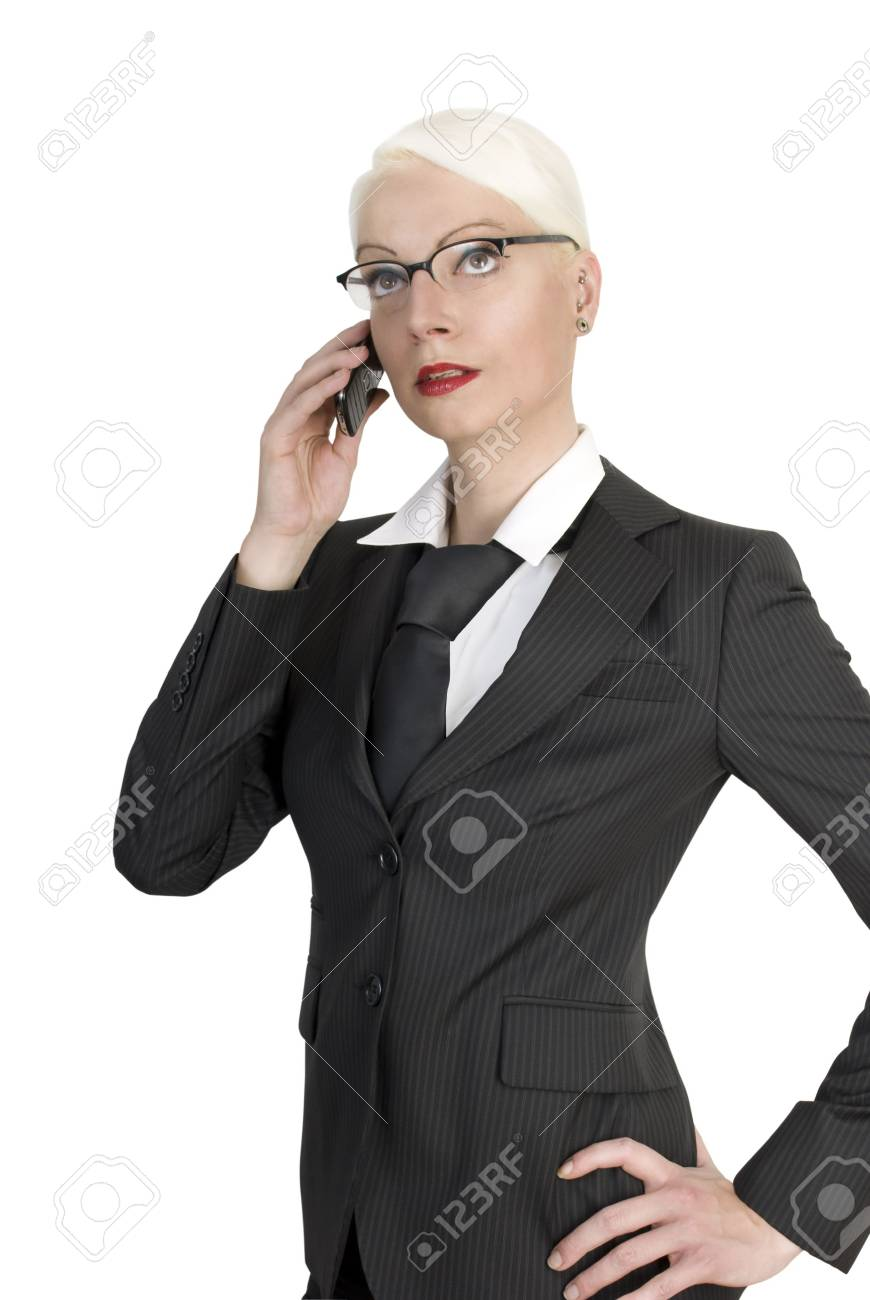 Young beautiful business woman with a phone in her hands. Isolated over white background. Stock Photo - 7945348