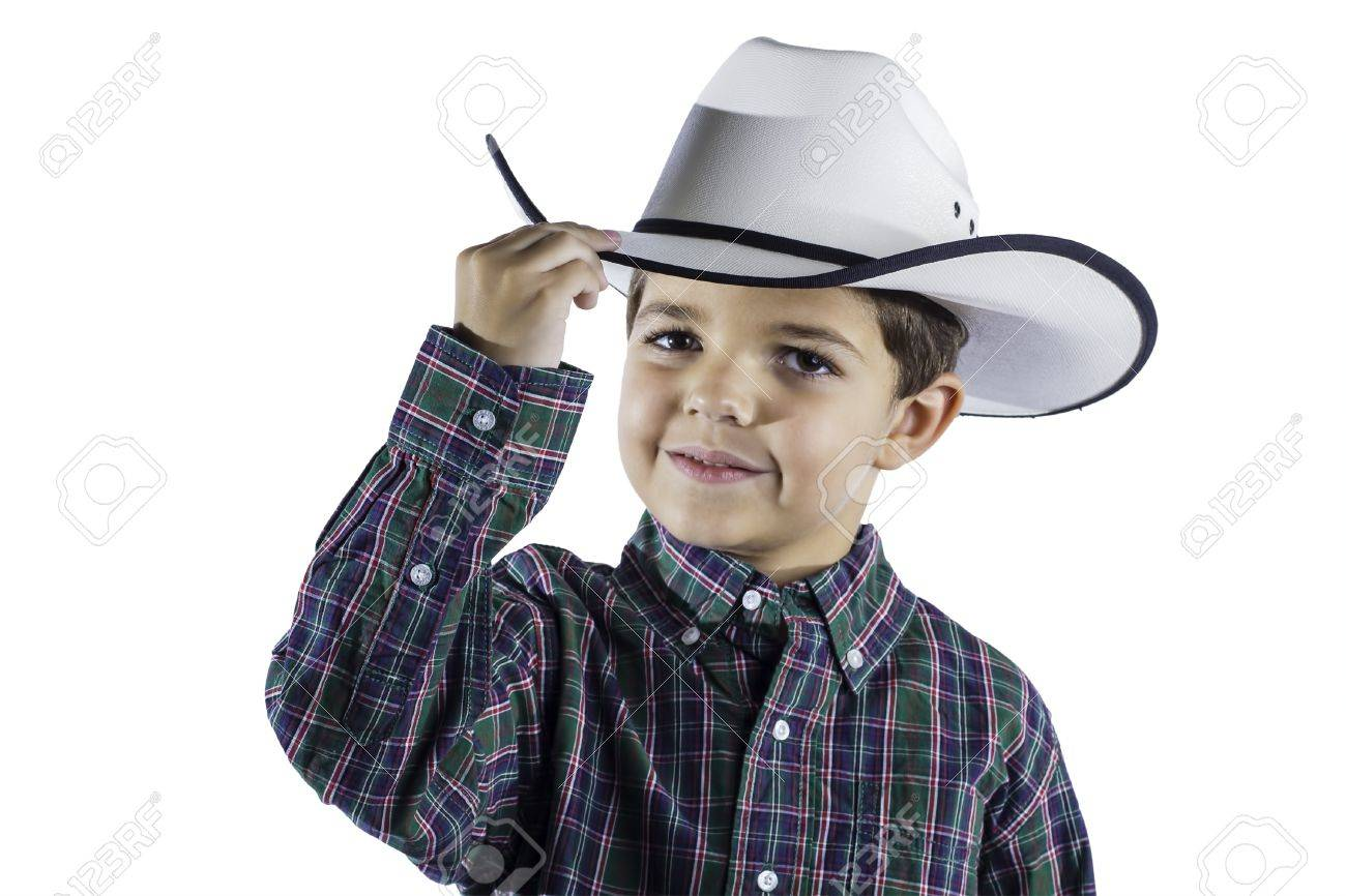 b5011d90c25b8 A young boy dressed in western attire isolated on a white background. Stock  Photo -
