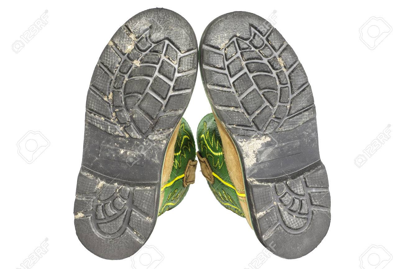 Werkschoenen Met Witte Zool.De Onderste Zwarte Zolen Van Een Paar Werkschoenen Geisoleerd Op Een
