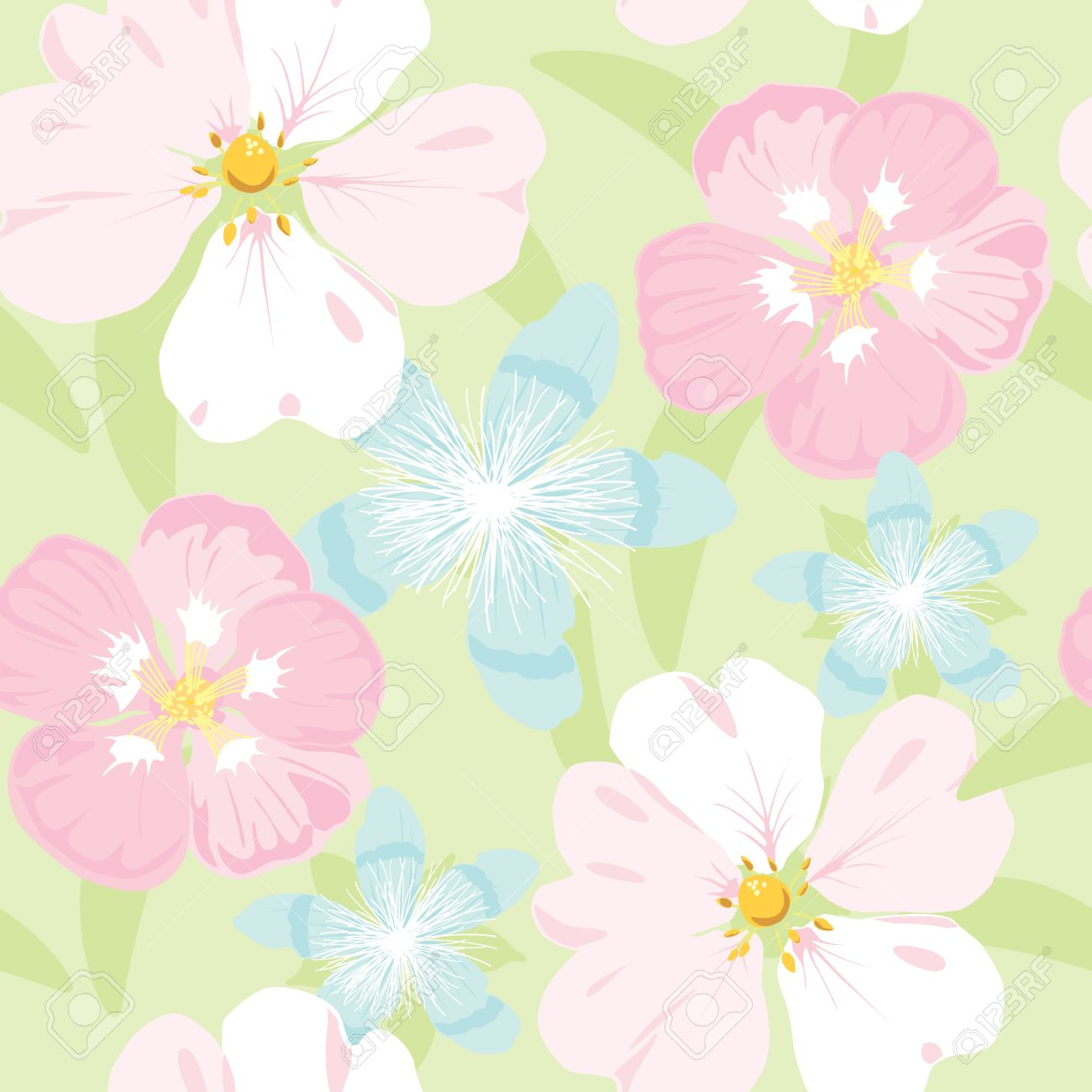 floral garden, wrapping, seamless pattern, pastel background Stock Vector - 14192035