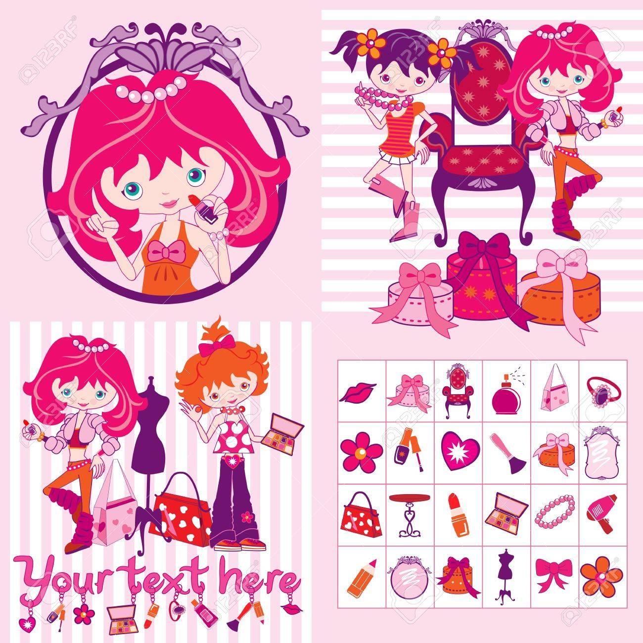 pink cartoon girls, makeup and jewelry, illustration - 14192040