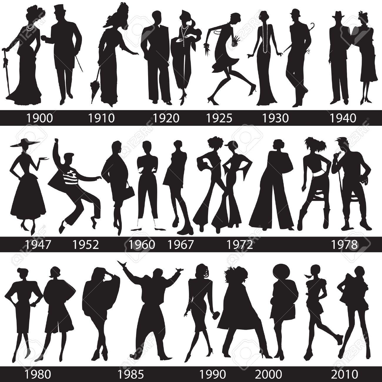 ファッションの歴史、人および女性のシルエット 写真素材 , 14192033