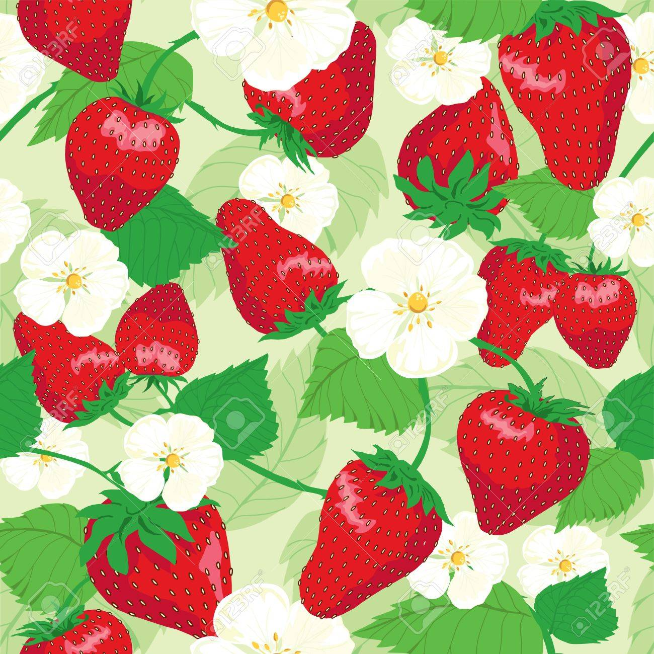 strawberries and flowers, wrapping, seamless pattern, leaf background - 14192044