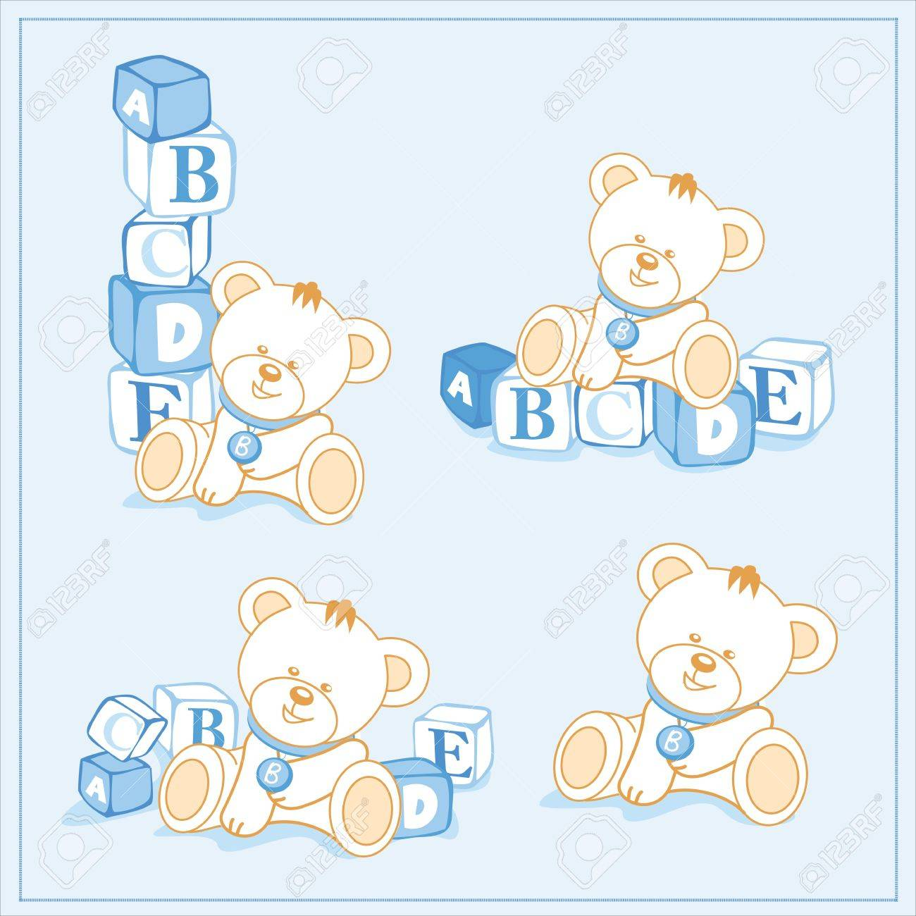 white teddy bear with building blocks, a separate sample - 14192038