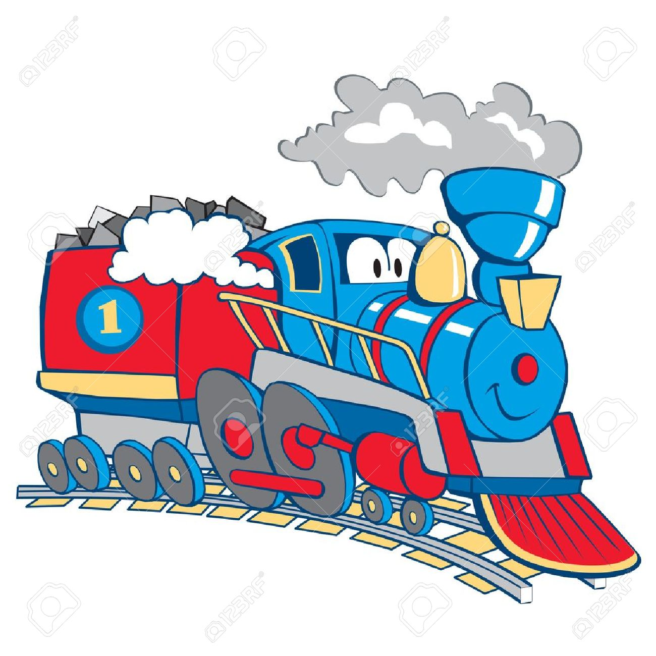 cartoon train isolated on the white background - 14192032