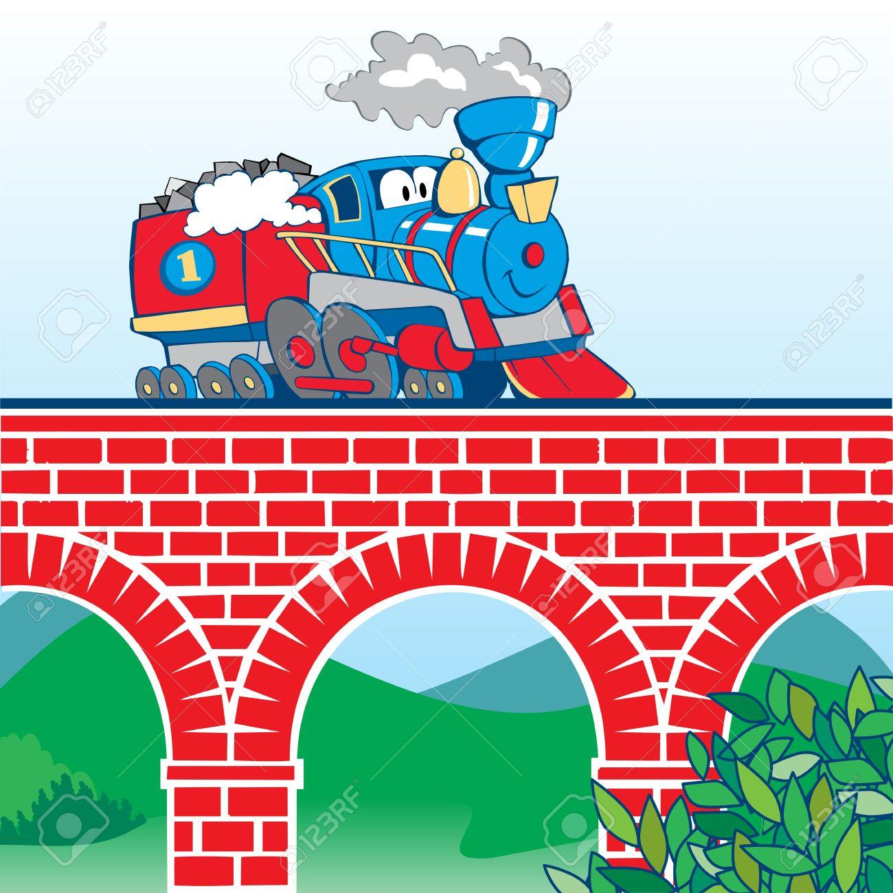 colorful cartoon train on the bridge - 14192036