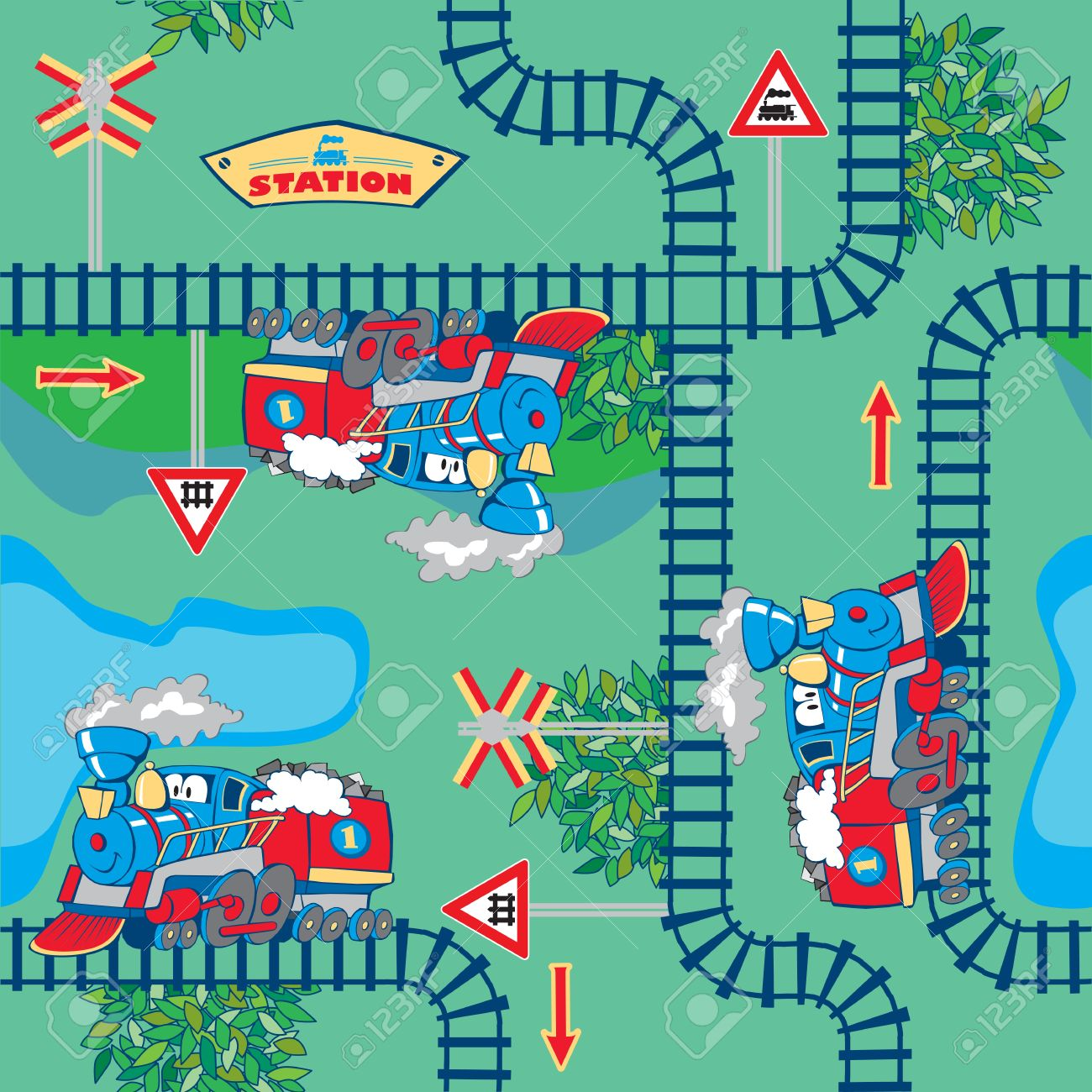 seamless, colorful cartoon trains in the countryside - 14192042