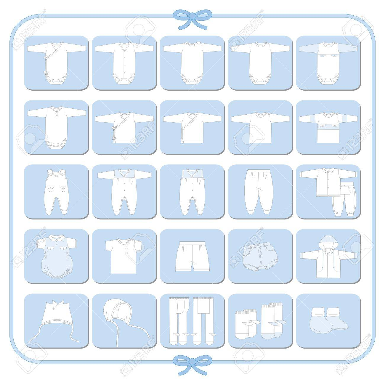 Pictograms of white babyboy dresses - 14410183