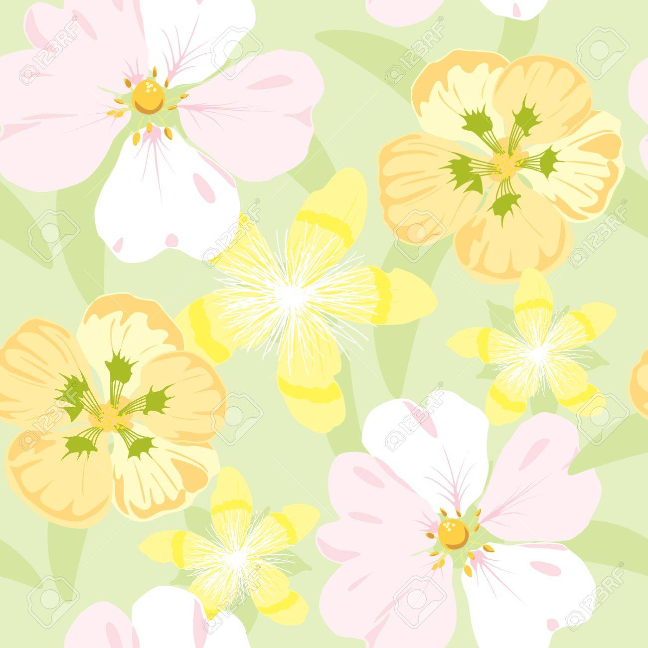 floral garden, wrapping, seamless pattern, pastel background illustration - 14410189