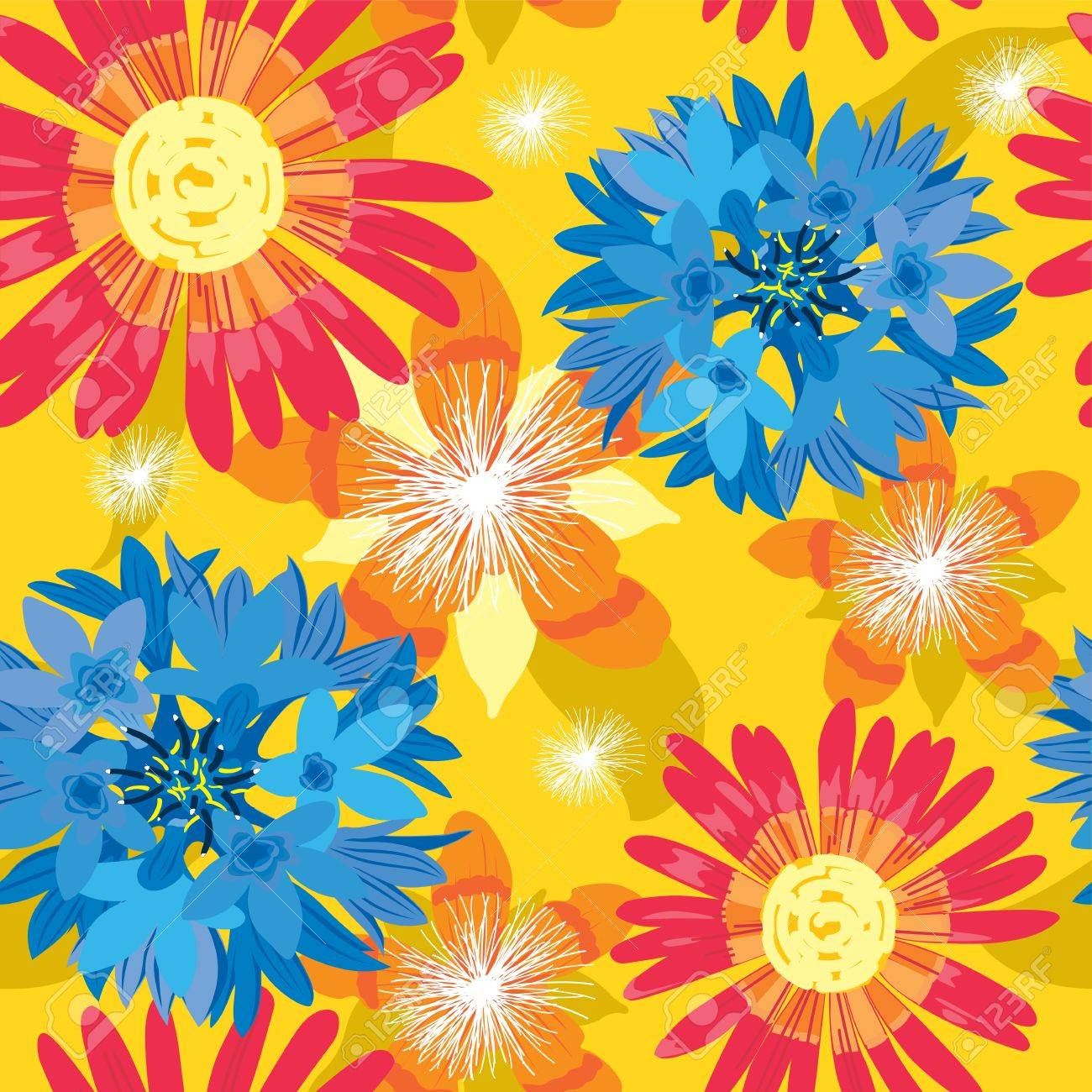 Seamless flower, summer background - floral garden, wrapping, seamless pattern, illustration - 14410192