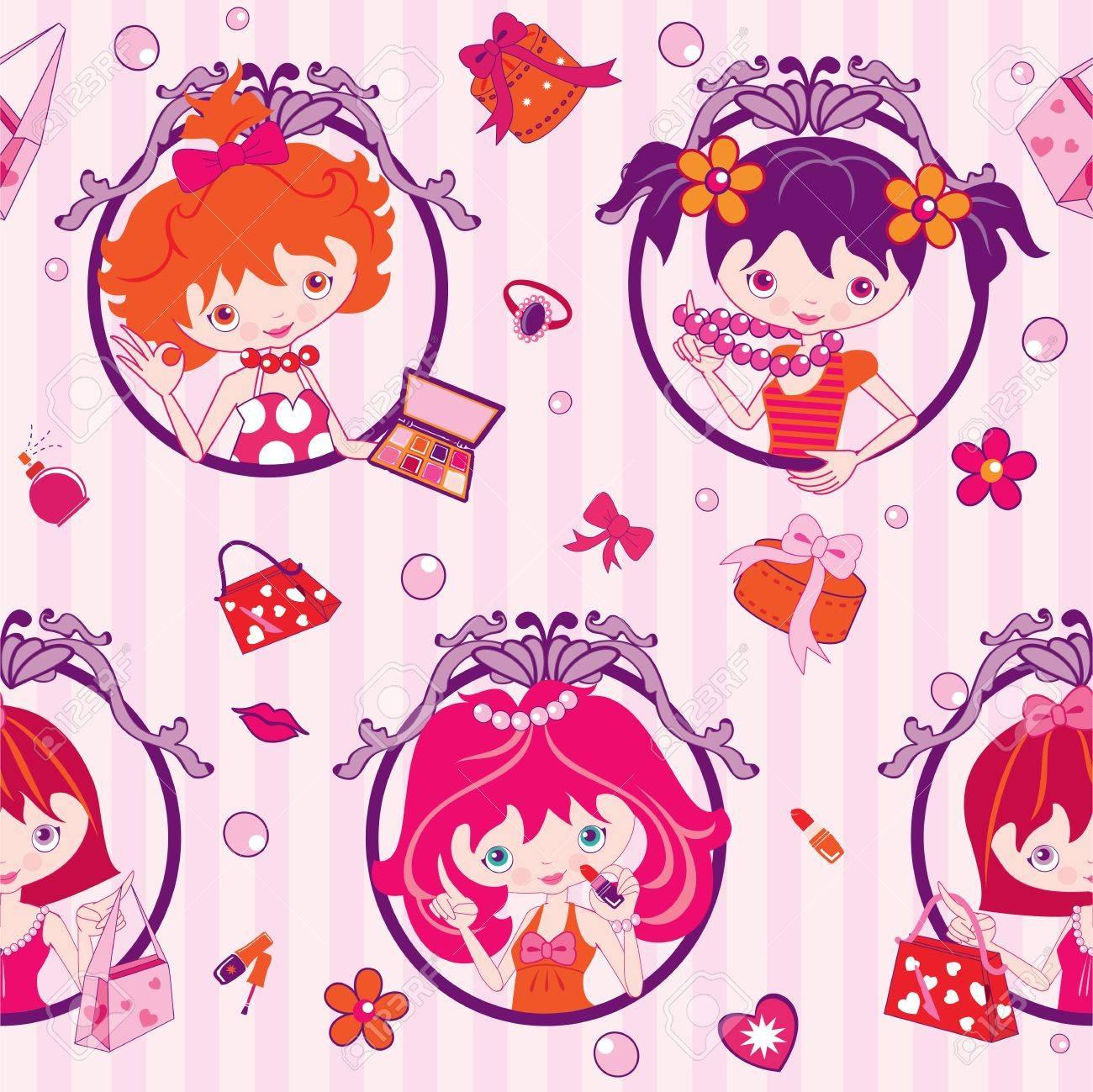 pink cartoon girls, makeup and jewelry - illustration - 14410186