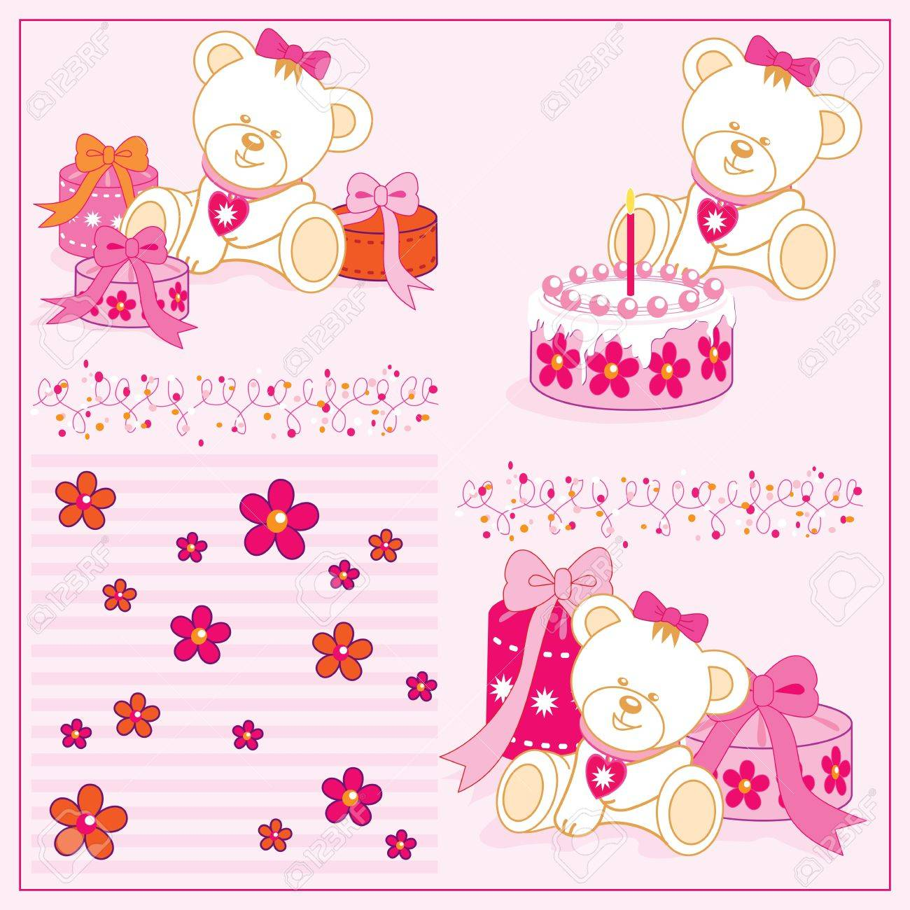 white girl teddy bear, with cake, gifts, illustrations - 14410184