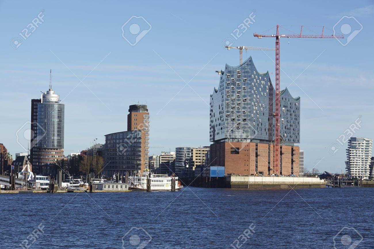 Stock photo hamburg germany riverside new - The Landmark Elbe Philharmonic Hall Hamburg Germany Taken From The Opposite Riverside Of