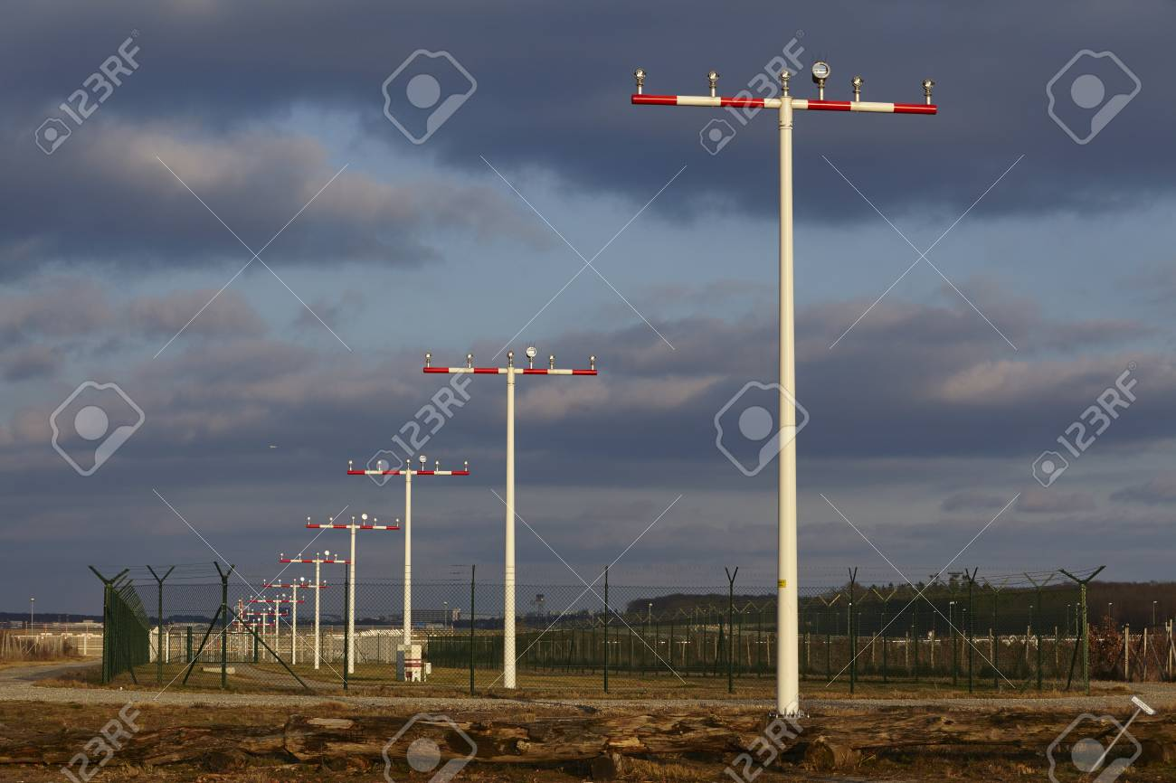 The landing strip lights at frankfurt international airport germany the landing strip lights at frankfurt international airport germany fra on april 23 mozeypictures Image collections