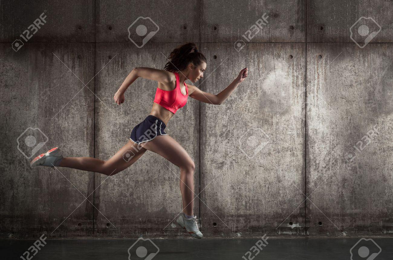 photo of caucasian adult girl - runner Stock Photo - 39631057