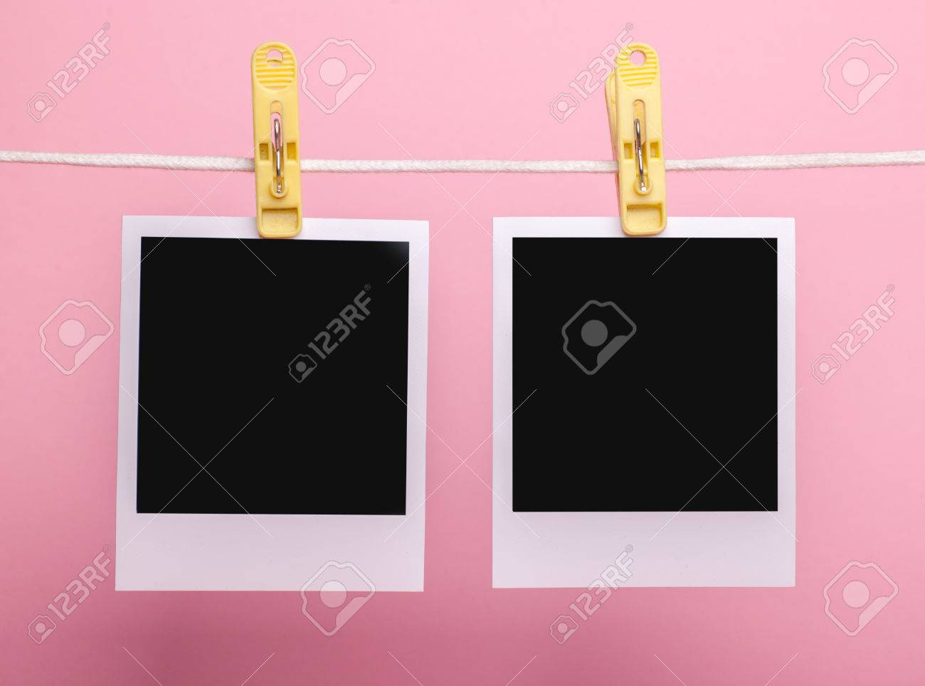 Two Blank Insta Photo Frames On Clothes Pins On Rope Isolated ...