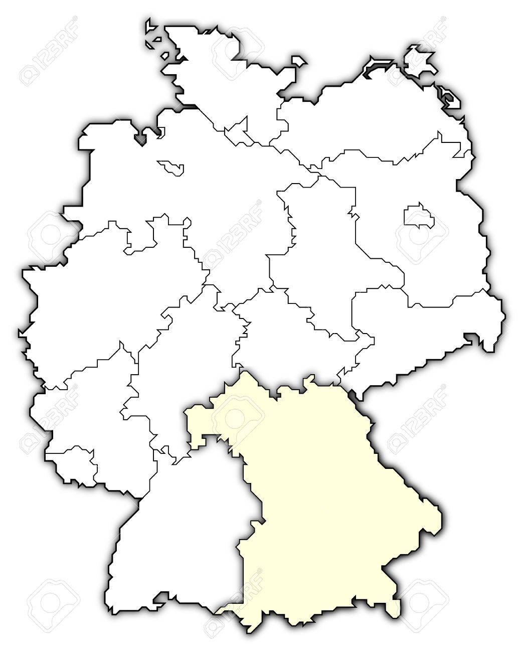 Germany Map Bavaria Highlighted Stock Photo Picture And Royalty - Germany map bavaria