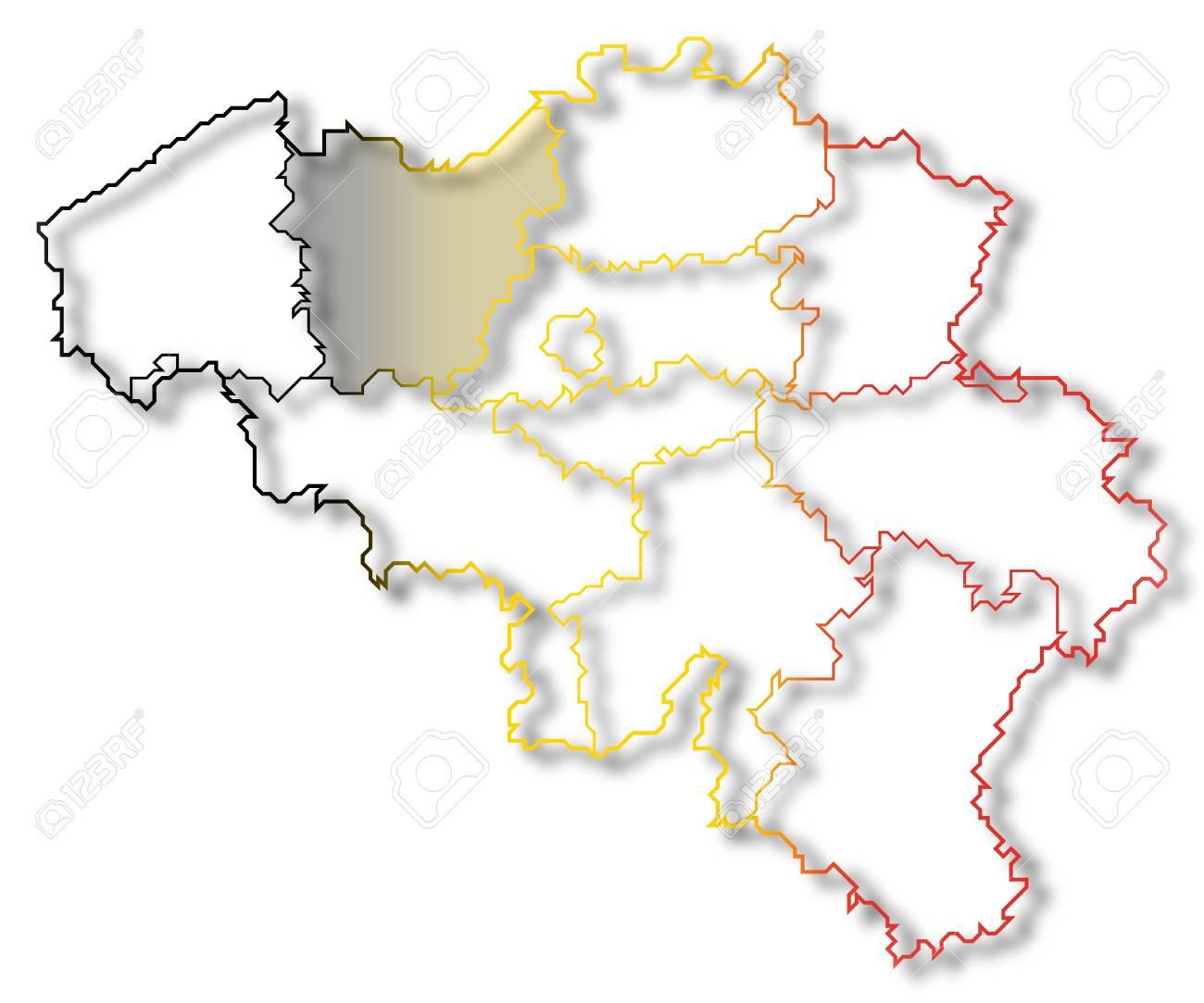 Mapa Politico De Belgica Con Los Diferentes Estados Donde Se
