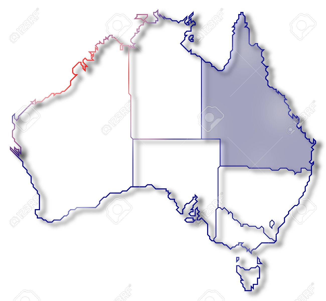 Map Of Australia Highlighting Queensland.Political Map Of Australia With The Several States Where Queensland