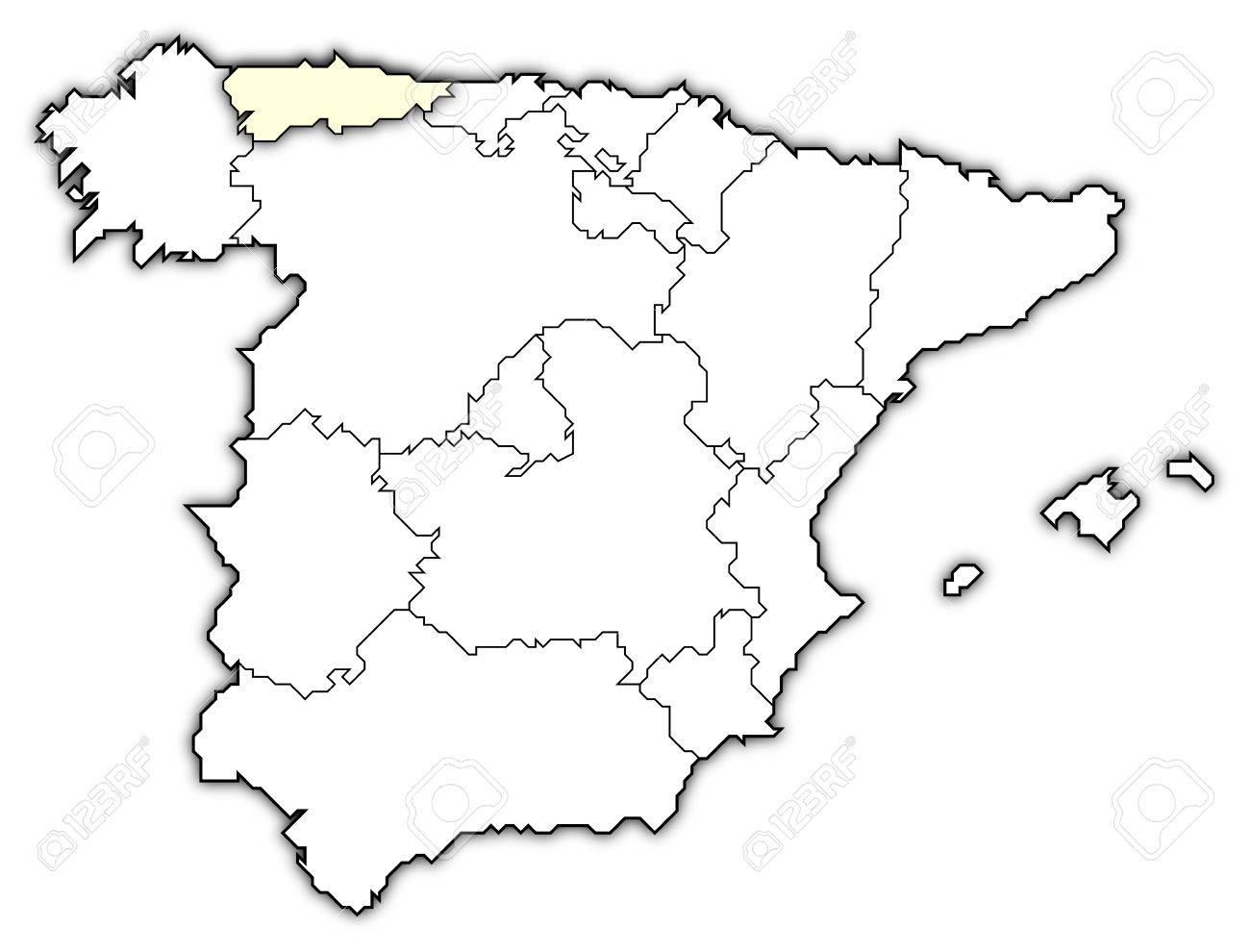 Map Of Spain With Regions.Political Map Of Spain With The Several Regions Where Asturias