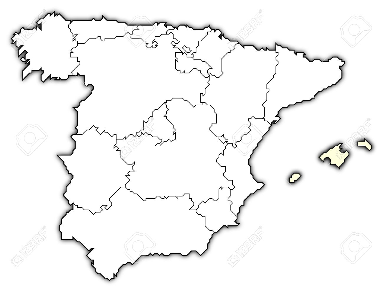 Map Of Spain Drawing.Political Map Of Spain With The Several Regions Where The Balearic