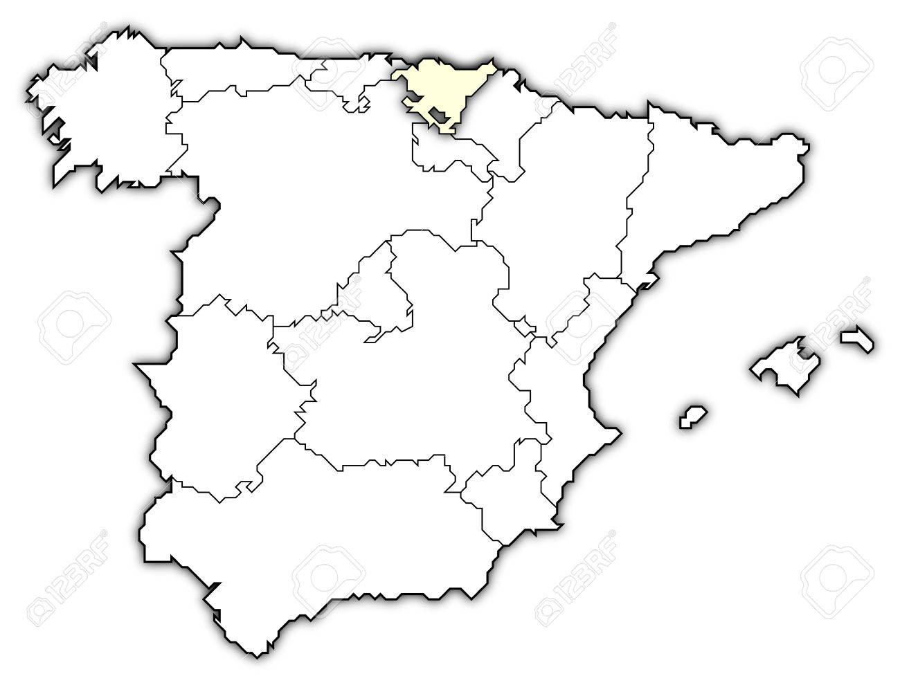 Basque Map Of Spain.Political Map Of Spain With The Several Regions Where Basque