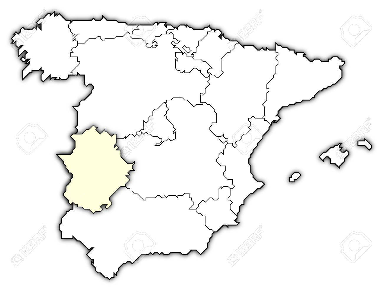 Map Of Spain Extremadura.Political Map Of Spain With The Several Regions Where Extremadura