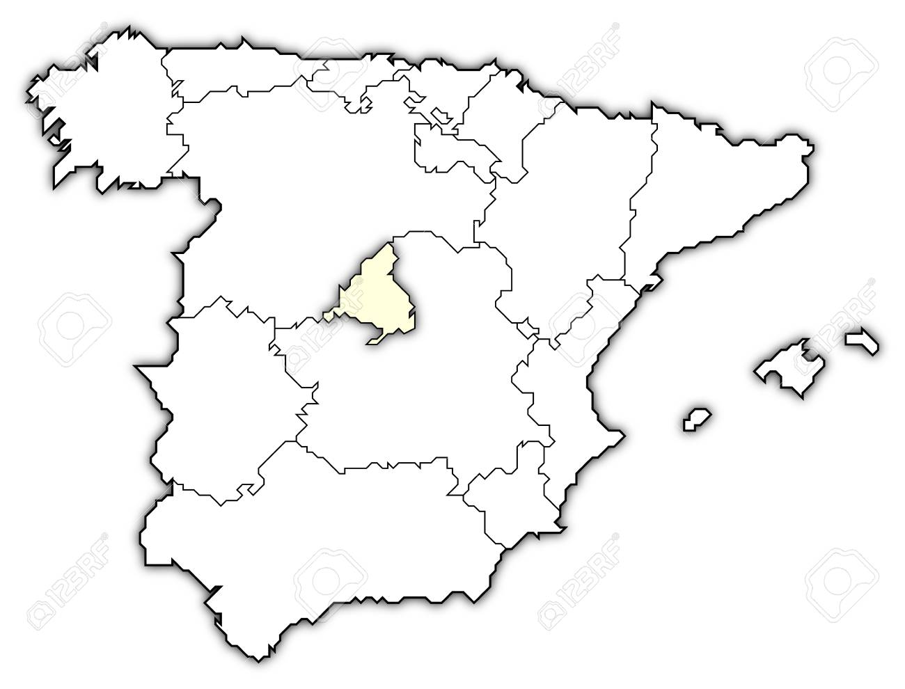 Map Of Spain Drawing.Political Map Of Spain With The Several Regions Where Madrid Stock