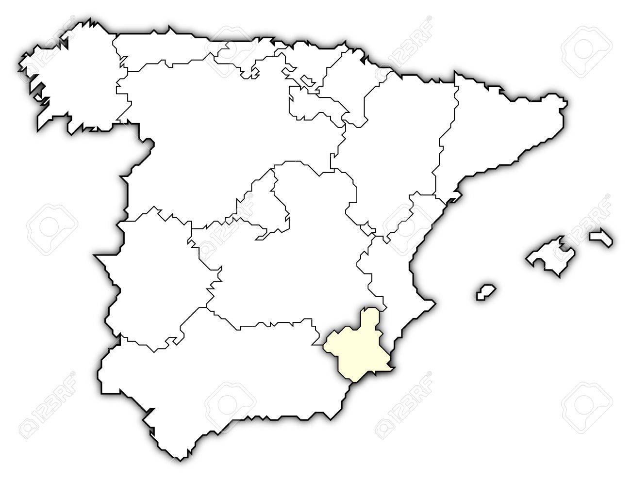 Murcia Map Of Spain.Political Map Of Spain With The Several Regions Where Murcia