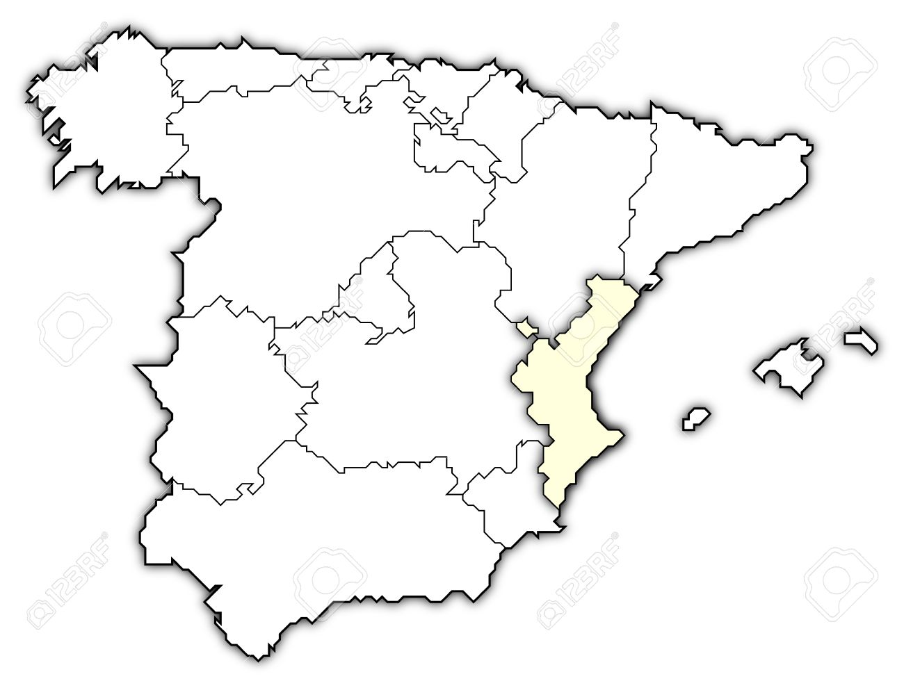 Autonome Regionen Spanien Karte.Stock Photo